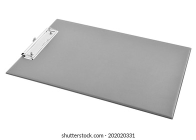 Clipboard - gray plastic clipboard or writing board isolated on white background