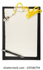 Clipboard with metal sport whistle, pen and paper sheet