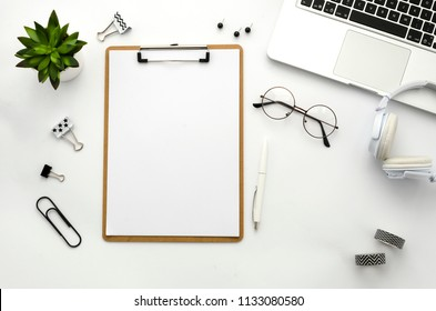 Clipboard mockup. Home office workspace mock up. Template for blog, bloger, business. Flat lay clean minimal white background