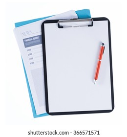 Clipboard with pen and blank sheet over a file and a financial report on white background, finance and accounting concept