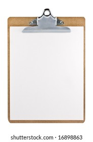 Clipboard with a sheet of paper isolated on white background with clipping path.