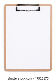 Clipboard with a sheet of white paper isolated on white background.