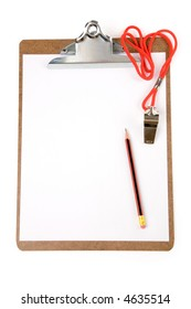 Clipboard and Whistle, sport concept