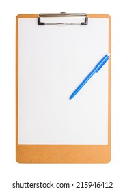 clipboard wooden with pen isolated on white background