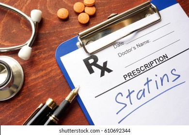 Clipboard with written prescription statins and stethoscope.