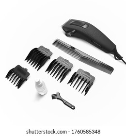 Clipper hairdresser set black on white bacground