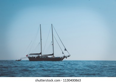 Clipper navigating through the seas, vintage background