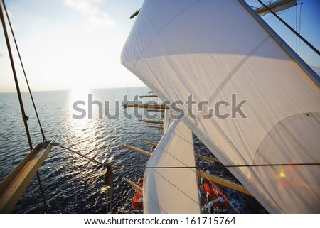 Clipper ship in the sea with waterscape