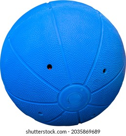 Clipping isolated image of a rubber jingling ball with soundholes used by disabled and blind athletes in goalball sport.
