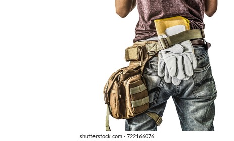 clipping path Adult construction man site manager or building site foreman worker turn back Carry Tooling isolated white background