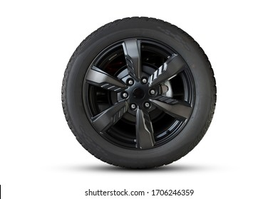 Clipping path. Black Wheel super car isolated on White background view. Movement. Magneto wheels. - Shutterstock ID 1706246359