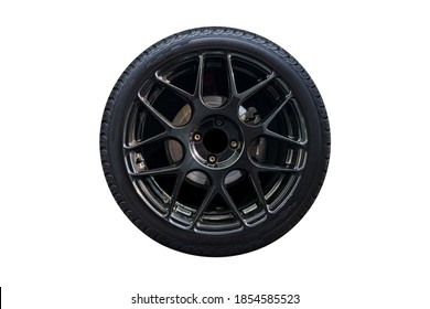 Clipping path. Black Wheel super car isolated on white background view. Magneto wheels. Movement. Wheel super car. - Shutterstock ID 1854585523