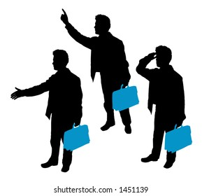 CLIPPING PATH! Business Silhouettes Blue Series