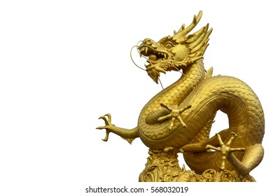 clipping path, Chinese golden dragon statue isolated on white background, copy space