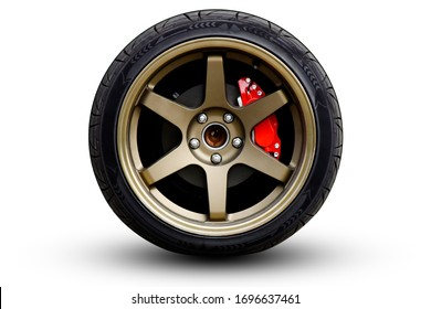 Clipping path. Gold Matt Wheel Speed super car isolated on White background view. Movement.