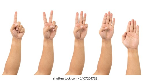 Clipping path Group set of hands and arm pointing gestures hold the finger. Number multiple one two three four five isolated on white background concept studio.
