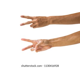 Clipping path hand gestures isolated on white background. Hand making number two sign or symbol gesture. Back and front hand gesture.