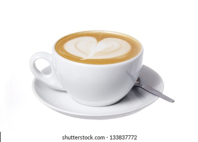 Clipping Path Included. Latte with Heart Design.