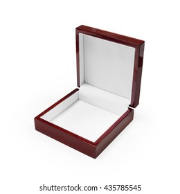 Clipping path jewelry box on white background. Crimson luxury accessory package.