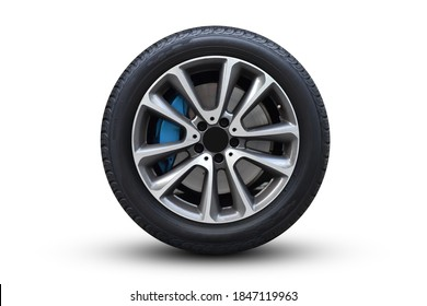 Clipping path. Silver Wheel super car isolated on white background view. close-up view. Luxury wheel. Movement. Magneto wheels.