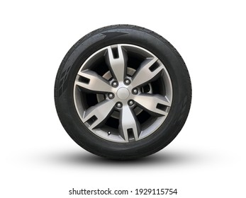 Clipping path. Silver wheel super car isolated on white background view. Magneto wheels. Movement.  Move car. Closeup. Top view. Flat lay view.