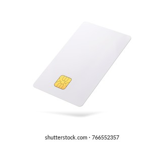 Clipping paths chip card isolated on white background. Template of blank credit card for your design.