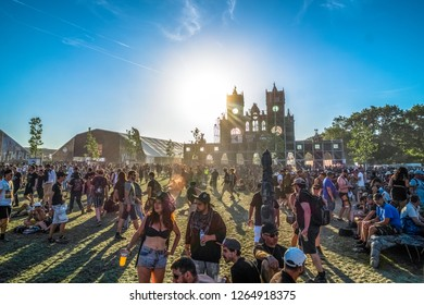 Clisson, Loire-Atlantique / France - June 18 2017: A crowd of fans of rock music wait for the next  concert to start at the end of the afternoon at the HellFest.