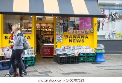 9a9a14dab65a0 Clitheroe, Lancashire/UK - May 11th 2019: Banana News, a bright yellow