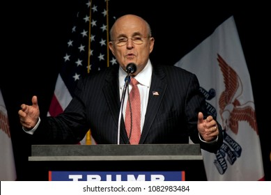 Clive, Iowa, USA, September 13, 2016 Former New York CIty Mayor Rudy Giuliani warms up the crowd of 1600 supporters at a Donald Trump campaign rally today.
