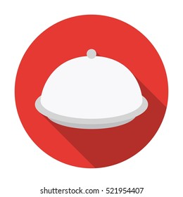 Cloche icon in flat style isolated on white background. Hotel symbol stock bitmap illustration.
