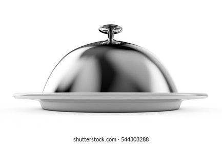 Cloche on plate isolated on white 3d render
