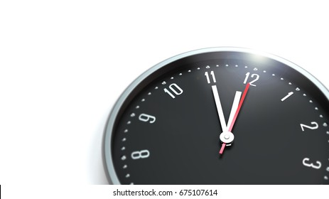 clock 5 to 12 on white background with copy space