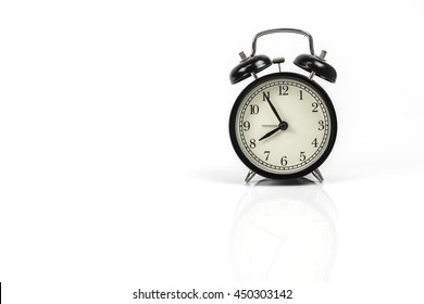 Clock alarm on white background and clipping path