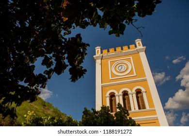clock in the amarena tower in the city of piranhas alagoa