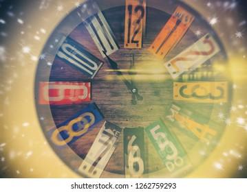 clock before midnight - retro style image