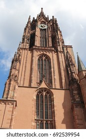 Clock and bell tower of the Imperial Cathedral of St. Bartholomew in Frankfurt Germany