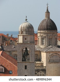 The Clock Bell Tower in the Old Town of Dubrovnik, Croatia