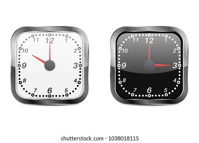 Clock. Black and white square clocks. 3d illustration isolated on white background. Raster version
