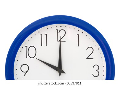 Clock with blue frame on white background. Ten o'clock