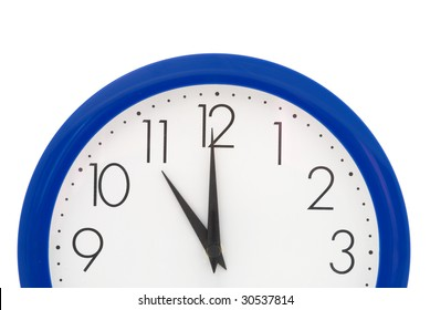 Clock with blue frame on white background. Eleven o'clock