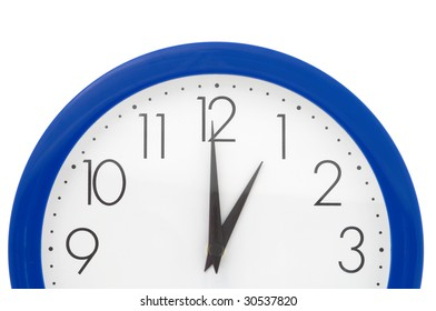 Clock with blue frame on white background. One o'clock