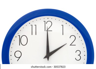 Clock with blue frame on white background. Two o'clock