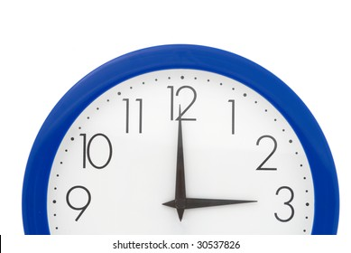 Clock with blue frame on white background. Three o'clock
