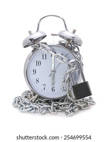 Clock bound with chain and padlock concept stop time
