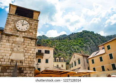 Clock and Buildings of the Old Town - Kotor, Montenegro