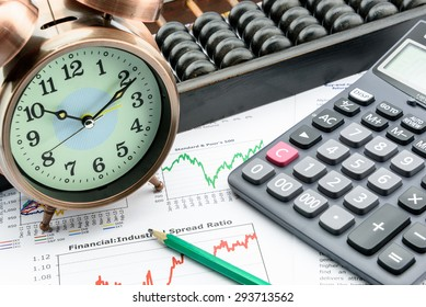 A clock with a calculator, an abacus and a pencil on business and financial summary reports. A long term sustainable growth investment concept.