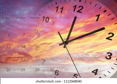 Clock and calendar in bright sky. Time passing