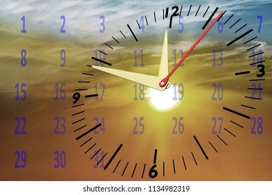 Clock with calendar at sunset in the sky, 3D illustration