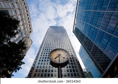Clock at Canary Wharf in London Docklands financial district