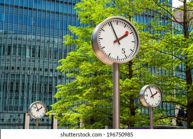 Clock in Canary Wharf. London, England